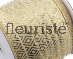 Printed Metallic Elastic 5/8 Cream Gold Diamond Elastic