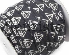 Metallic Printed Foldover Elastic-Black Silver Diamonds