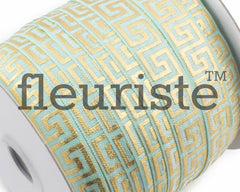 Metallic Printed Foldover Elastic - Aqua Gold Maize