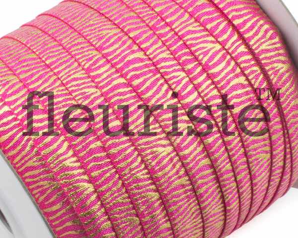 Metallic Printed Foldover Elastic - Hot Pink Gold Zebra