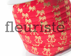 Metallic Printed Foldover Elastic - Red Gold Wedding Bells