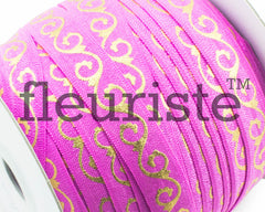 Metallic Printed Foldover Elastic -Light Fuchsia Gold Swirl