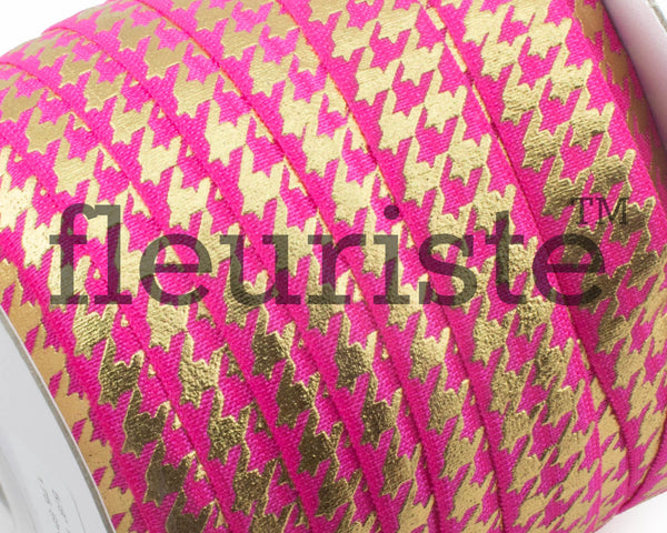 Metallic Printed Foldover Elastic - Hot Pink Gold Houndstooth