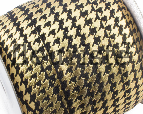 Metallic Printed Foldover Elastic - Black Gold Houndstooth
