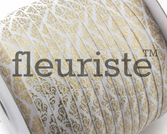Metallic Printed Foldover Elastic -White Gold Damask