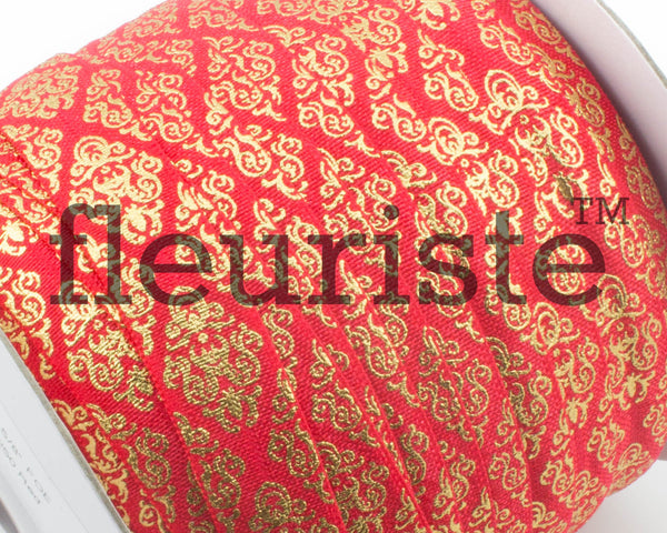 Metallic Printed Foldover Elastic -Red Gold Damask