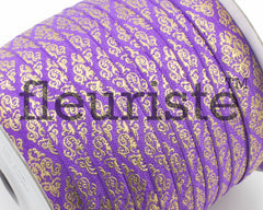Metallic Printed Foldover Elastic -Purple Gold Damask