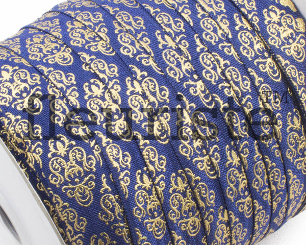 Metallic Printed Foldover Elastic -Navy Gold Damask