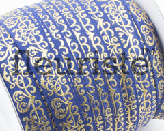 Metallic Printed Foldover Elastic - Navy Gold Damask