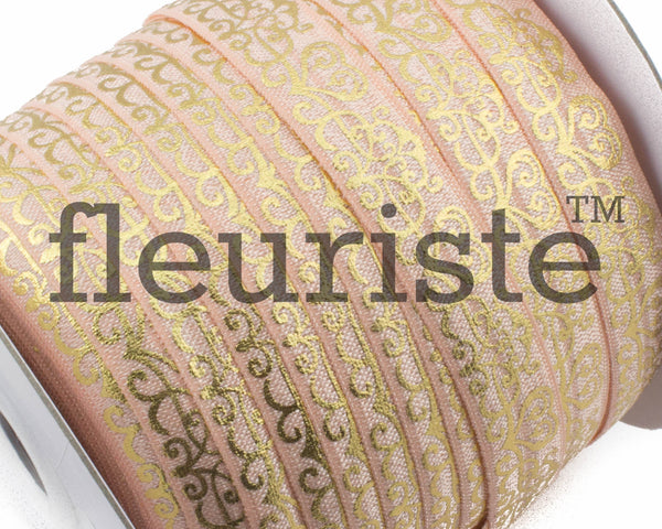 Metallic Printed Foldover Elastic -Peach Gold Damask