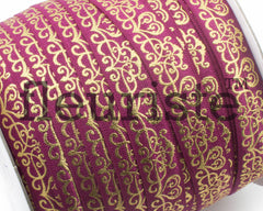 Metallic Printed Foldover Elastic - Wine Gold Damask
