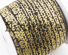 Metallic Printed Foldover Elastic -Black Gold Damask