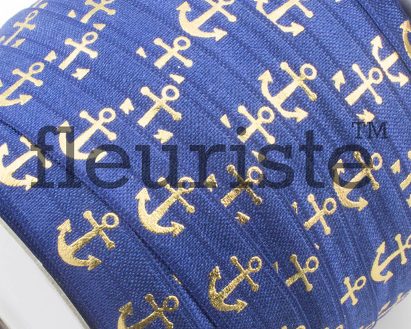 Metallic Printed Foldover Elastic - Navy Gold Anchor