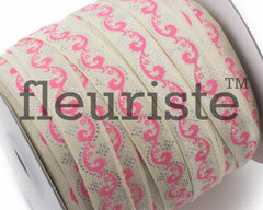 "Printed Fold Over Elastic-5/8"" Width Ivory Hot Pink Swirl"