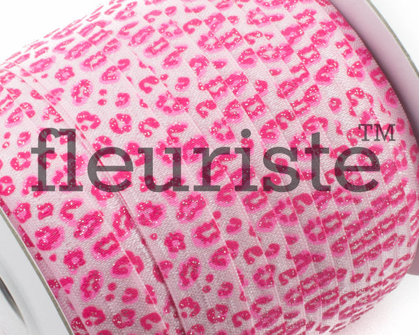 "Printed Fold Over Elastic-5/8"" Width Pink Leopard Cheetah Glitter"