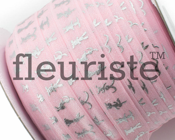 "Printed Fold Over Elastic-5/8"" Width Pink Silver Bunny- Easter"