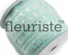 "Printed Fold Over Elastic-5/8"" Width Aqua Silver Bunny- Easter"