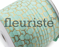 "Metallic Printed Fold Over Elastic-5/8"" Width Aqua Gold Honeycomb"