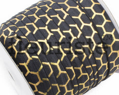 "Metallic Printed Fold Over Elastic-5/8"" Width Black Gold Honeycomb"