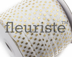 "Metallic Printed Fold Over Elastic-5/8"" Width White Gold Stars"
