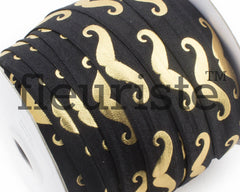 "Metallic Printed Fold Over Elastic-5/8"" Width Black Gold Mustache"