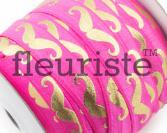 "Metallic Printed Fold Over Elastic-5/8"" Width Hot Pink Gold Mustache"