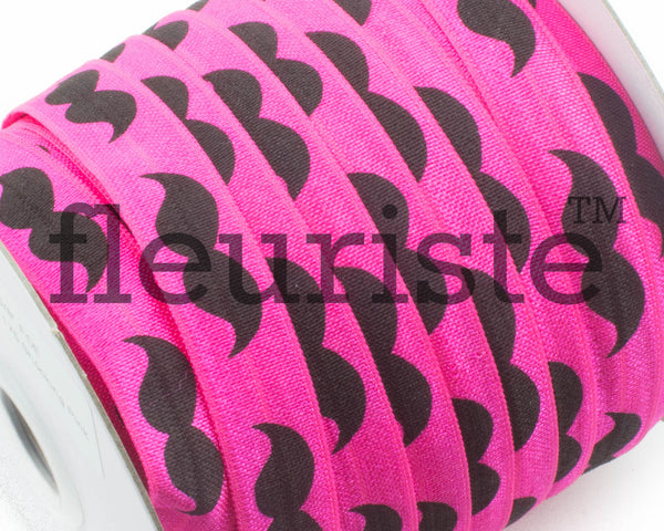 "Printed Fold Over Elastic-5/8"" Width Hot Pink Black Mustache"