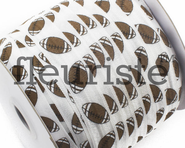 "Printed Fold Over Elastic-5/8"" Width White Football Sports"