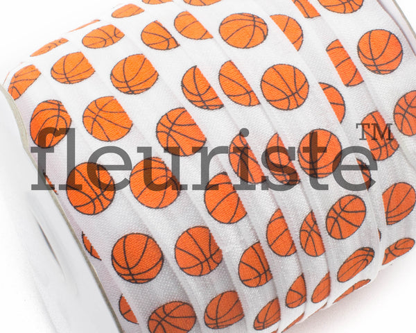 "Printed Fold Over Elastic-5/8"" Width White Basketball Sports"