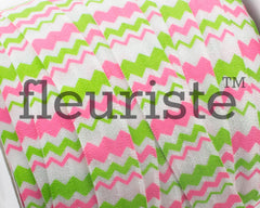 "Printed Fold Over Elastic-5/8"" Width Lime Pink Chevron"