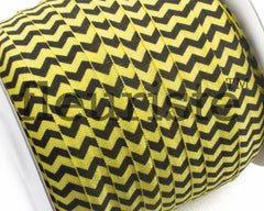 "Printed Fold Over Elastic-5/8"" Width Black Yellow Chevron"