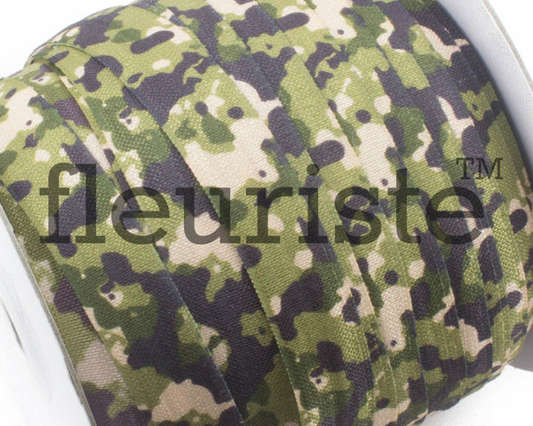 "Printed Fold Over Elastic-5/8"" Width Camouflage  Green Camo Military"