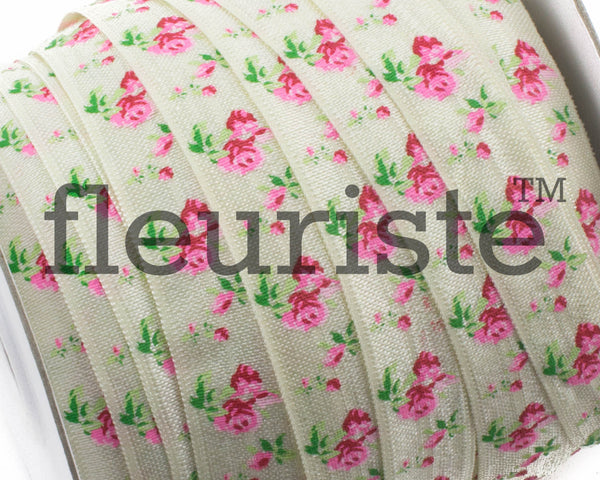 "Printed Fold Over Elastic-5/8"" Width Ivory Floral"