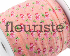 "Printed Fold Over Elastic-5/8"" Width Light Coral Floral"