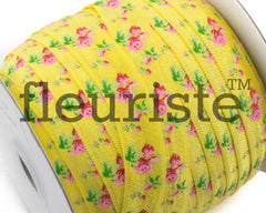 "Printed Fold Over Elastic-5/8"" Width Yellow Floral"