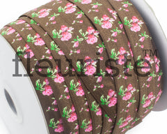 "Printed Fold Over Elastic-5/8"" Width Brown Floral"