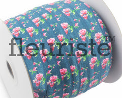 "Printed Fold Over Elastic-5/8"" Width Teal Floral"