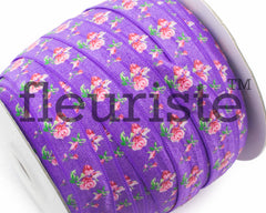 "Printed Fold Over Elastic-5/8"" Width Purple Floral"