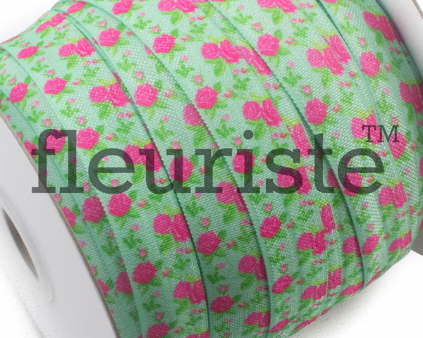 "Printed Fold Over Elastic-5/8"" Width Lime Green Floral"