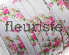 "Printed Fold Over Elastic-5/8"" Width Floral Pink Flowers"