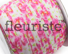 "Printed Fold Over Elastic-5/8"" Width Floral Pink Roses"