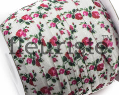 "Printed Fold Over Elastic-5/8"" Width Floral Rose"
