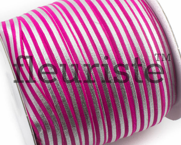 "Printed Fold Over Elastic-5/8"" Width Hot Pink Silver Foil"
