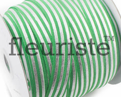 "Printed Fold Over Elastic-5/8"" Width Green Silver Stripe Foil"