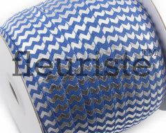 "Printed Fold Over Elastic-5/8"" Width Royal Blue Silver Chevron"