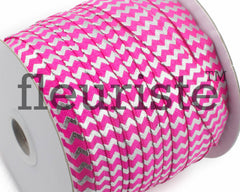 "Printed Fold Over Elastic-5/8"" Width Hot Pink Silver Chevron"