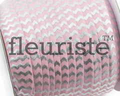 "Printed Fold Over Elastic-5/8"" Width Pink Silver Chevron"