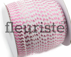 "Metallic Printed Fold Over Elastic-5/8"" Width White Pink Chevron"