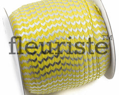 "Printed Fold Over Elastic-5/8"" Width Yellow Silver Chevron"