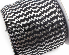 "Printed Fold Over Elastic-5/8"" Width Black Silver Chevron"